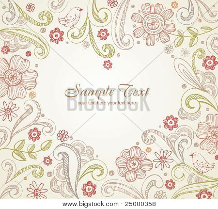 Floral frame with place for your text in heart shape.  Elegant wedding card.