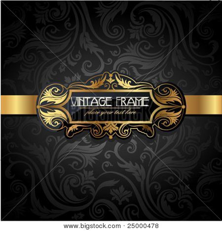 Vintage gold frame on black floral background. Vector illustration.