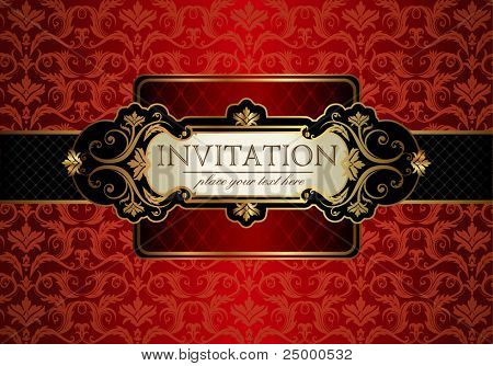 Vintage gold frame on red floral background. Vector illustration.