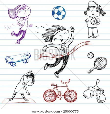 Sport and Healthy lifestyle, doodle set