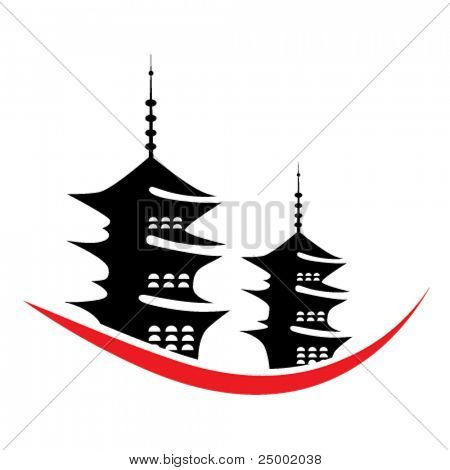 vector pagoda illustration