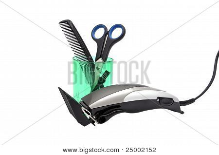 Hair Clipper, Comb And Scissors