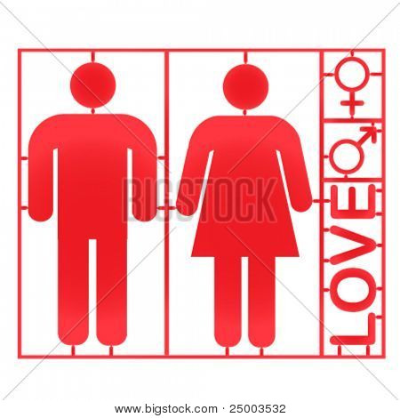 Plastic couple and gender symbols - vector