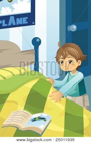 Boy Making His Bed
