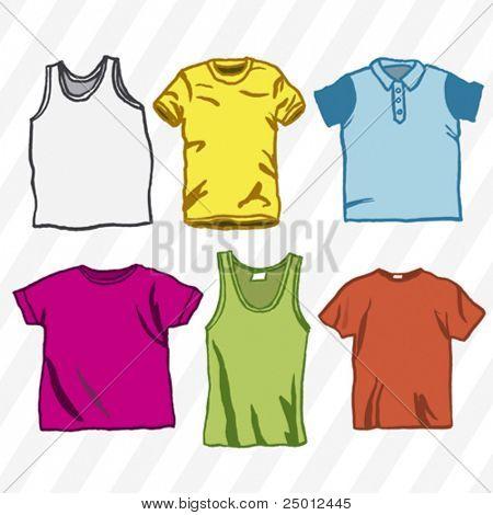 six colorful t-shirts