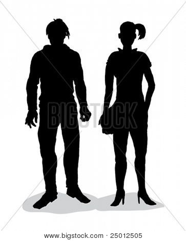 hand drawn silhouettes of girl and boy