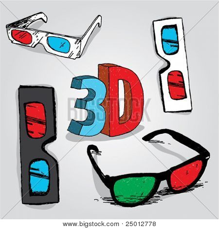 Hand Drawn 3D Glasses