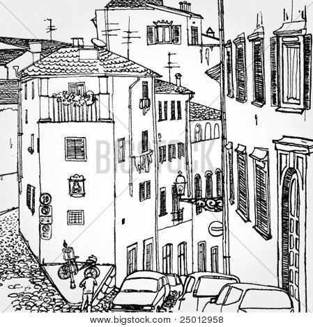 Hand Drawn Illustration of Old European Street