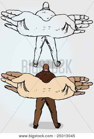 handgezeichnete Abbildung eines Mannes mit Hand-Flügel