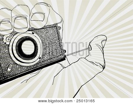 Sketch of Hand Holding Camera