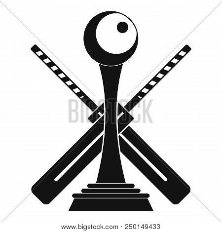 518b2e3f6e8 Cricket cup and bat logo. Simple illustration of cricket cup and bat vector  logo for web design isolated on white background poster. ID  250149433