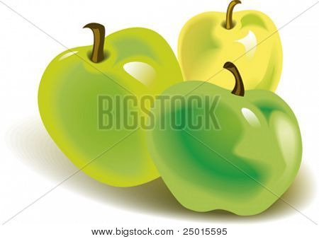 Three green apples on white background.