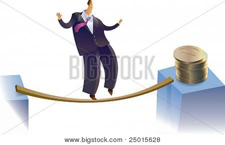 A businessman is trying to reach a golden pile on the risky way.