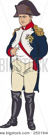 Napoleon Bonaparte wearing a blue camisole. Color illustration.