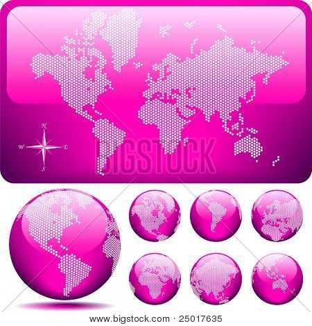 Vector dotted Map and Globe of the World - glossy PINK.
