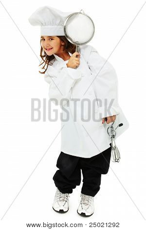 Adorable Girl Child In Baggy Chef Uniform