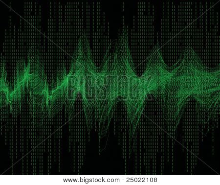 geometric abstract wave sound -green vector