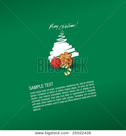 christmas greeting card- sweet and gingerbread cake- vector