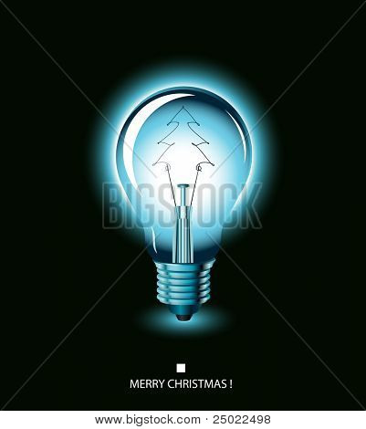 christmas tree light bulb - blue - vector