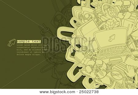 line drawing computer theme -vector- green