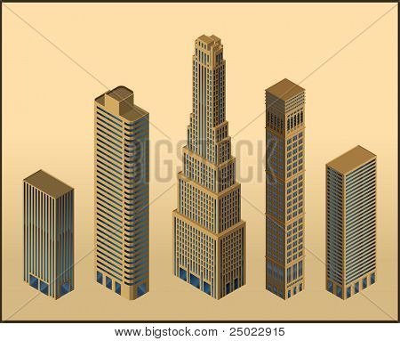 five isometric buildings - vector - isolated objects
