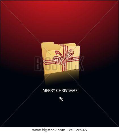Weihnachten-Ordner begrenzt mit Geschenk Multifunktionsleisten-Vektor