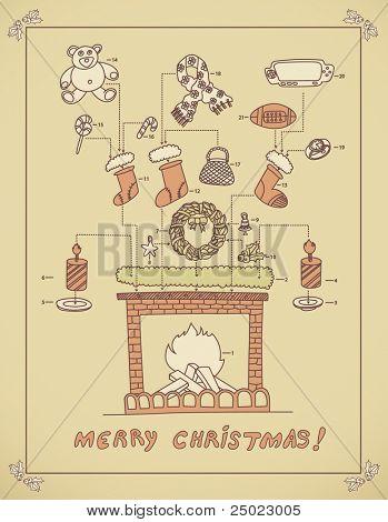 Arreglo de chimenea de Navidad - instrucción-vector