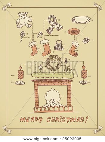 Christmas chimney arrangement - instruction-vector