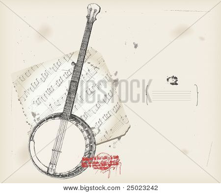 Banjo drawing- music instrument with score- background