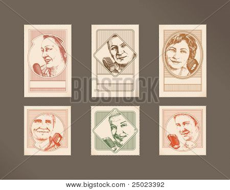 Postage stamps- freedom of speech- people with microphones