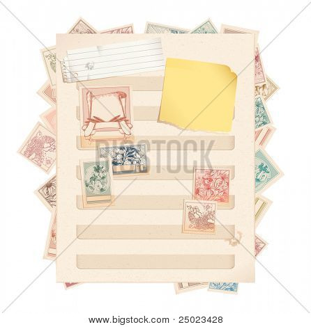 Stamp book page with stamps, paper and post-it