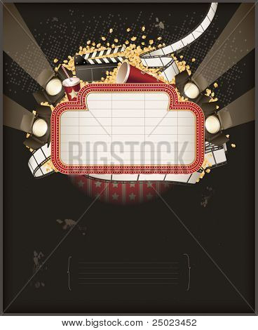Theatre marquee with movie theme objects. Composition