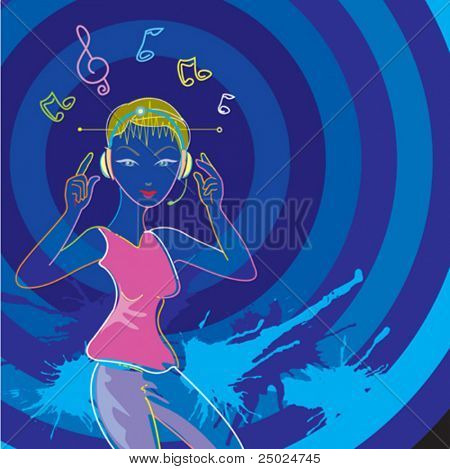 Neon Music style, vector illustration layers file.