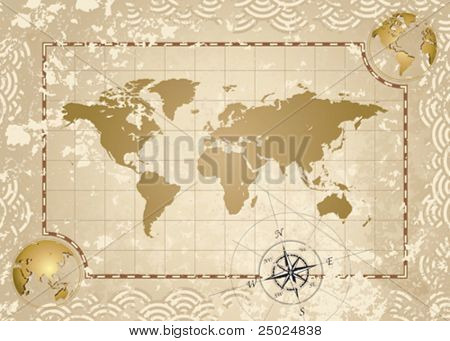 Antique style World Map, vector illustration layered.