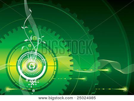 Go-verde, verde concepto industrial, ilustración vectorial capas.
