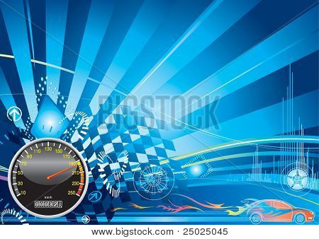 Raster illustration of car racing concept design. (for VECTOR format please view my gallery/portfolio)