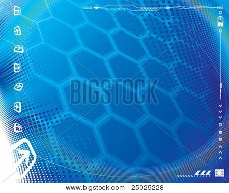 Abstract technology background plus border decoration. Vector layered.