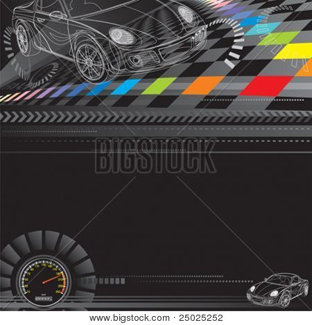 Car racing design in black. Vector layered.