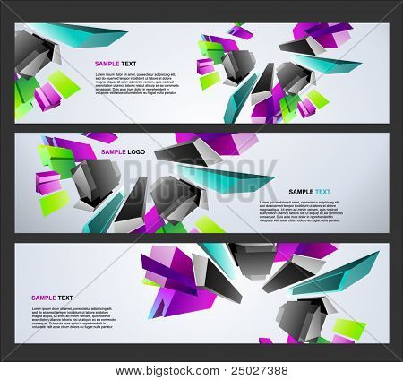 3d vector website headers
