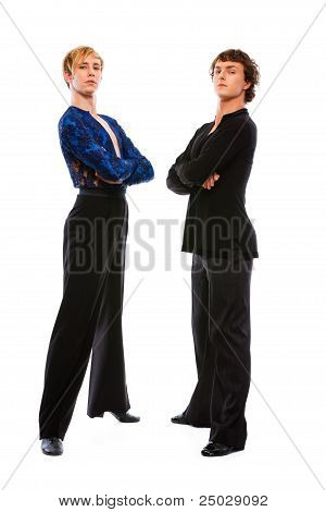 Two Ballroom Male Dancers With Crossed Arms On White Background