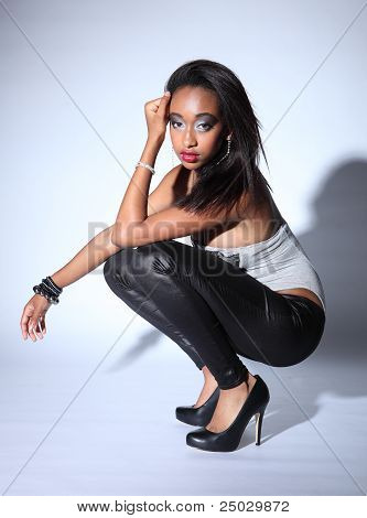 Beautiful Young African American Fashion Model
