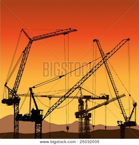 Lots of Tower Cranes on construction Site
