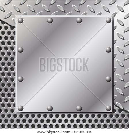 A Metal Background with Tread Plate and Rivets