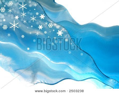 Blue Flying Silk With Snowflakes