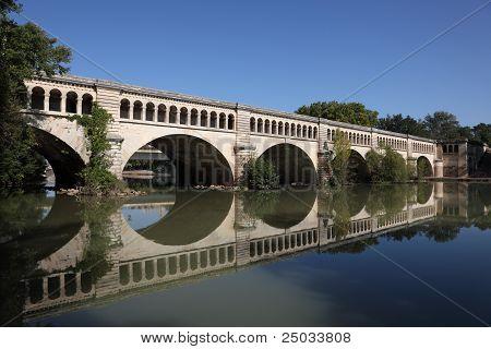 Canal Du Midi bridge In Beziers France