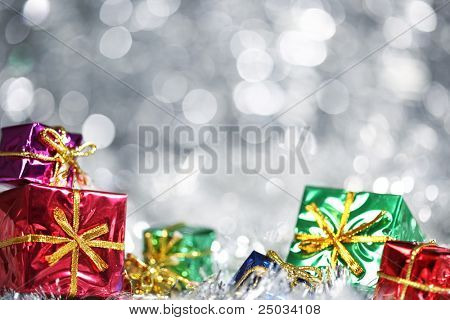 Silver Christmas background with presents