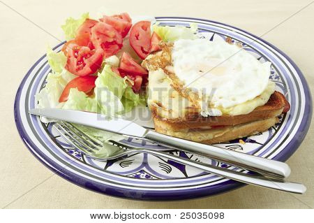 Croque Madame Plate With Fried Egg