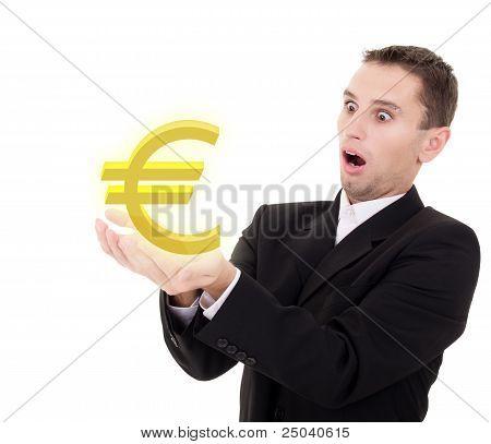 Businessman Chooses Golden Euro  Sign