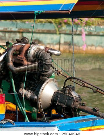 Engine Of Longtail Boat In Bangkok