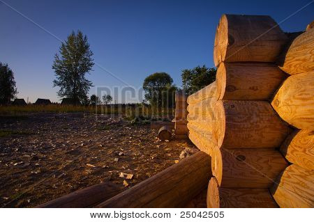 Corner Of Blockhouse From Logs